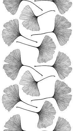 Gingko Sateen fabric designed by Kristina Isola for Marimekko / pattern / motifs / black and white / illustration Textile Patterns, Textile Design, Textiles, Prints And Patterns, Fabric Design, Graphic Patterns, Pattern Art, Pattern Design, Black Pattern