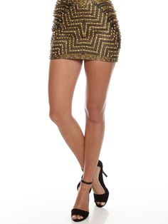 Harlequin Leather Skirt in Black/Gold By Shakuhachi - Glue Store