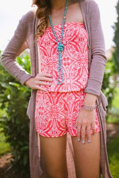 Strapless Romper & Long Cardi - Twenties Girl Style