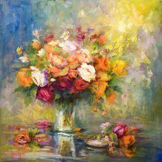 """ART & SPIRIT by Artist, NORA KASTEN: """"A Grand Bouquet"""" Oil Painting by Artist, NORA KASTEN"""