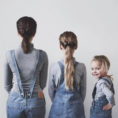dungarees / mother and daughter photoshoot Children Photography, Photography Poses, Family Photography, Two Daughters, Mom Daughter, Family Portraits, Family Photos, Cute Family, Love Photos