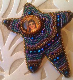 Starlady Bead Embroidered Brooch | BlueRidgeDiva - Jewelry on ArtFire