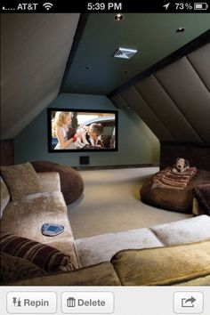 Home Theater Room In The Attic A More Do Able Idea Than Those Other Fancy Rooms Much Cozier And Warmer Individual Recliners Rows