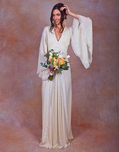 ivory pure silk bohemian wedding dress. Bell by Dreamersandlovers