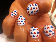 Nail Art - red, white, and blue + hearts