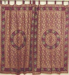 Burgundy Home Fashion Curtains Cotton Fabric Gold Print Ethnic Window Door Panel