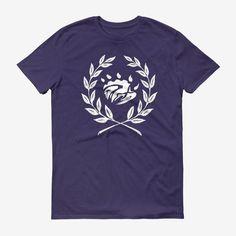 Men Crest Logo T Shirt Purple