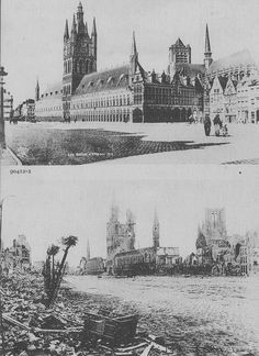 The Cloth Hall, Ypres before WW1 and after.