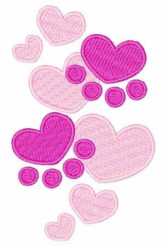 1Z Embroidery Embroidery Design: Heart Paw Prints 3.80 inches H x 2.24 inches W