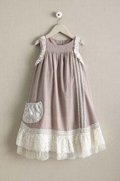Girls Willow Dress | Chasing Fireflies - rose brown with off white lace (vintage). not the lace around the arms though.
