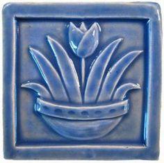 Tulip 4x4 Handmade Ceramic Art Tile Watercolor Blue Glaze