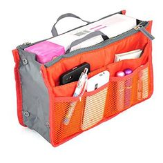Mily Nylon Handbag Orangizer Tidy Travel Hand Pouch Insert Comestic Gadget Purse Organizer Bag Expandable with Handles Orange >>> Be sure to check out this awesome product.
