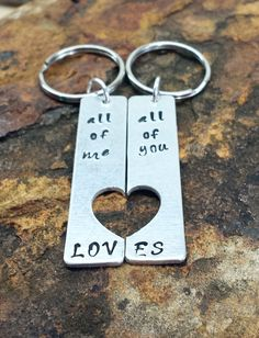 Custom made metal stamped key chain - all of me loves all of you, personalized key chain, fathers day gift, gift for dad, gift for grandpa - https://www.etsy.com/listing/191679383/custom-made-metal-stamped-key-chain