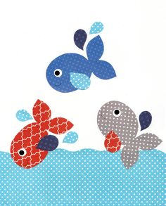 Nautical Jumping fish Nursery art prints baby nursery decor kids wall art children little boys room little boy green orange nursery artwork - Fadime Erbaş - Applique Templates, Applique Patterns, Applique Quilts, Applique Designs, Quilt Patterns, Nursery Artwork, Baby Nursery Decor, Baby Decor, Whale Nursery
