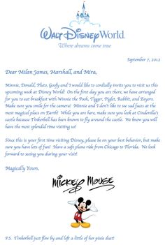 Letter from Mickey Mouse