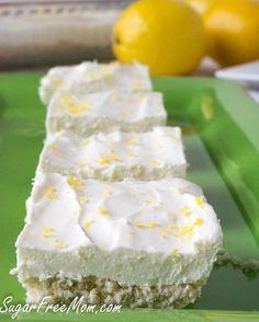 NO Bake Sugar Free Lemon Cheesecake Bars | sugarfreemom.com