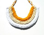 Braided Statement Necklace - Upcycled T Shirt Yarn - Off White. $22.00, via Etsy.
