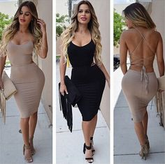 Sexy Strappy Bodycon Solid color Dress