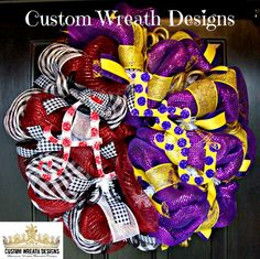 Deco Mesh LSU and Alabama House Divided Wreath on Etsy, $115.00