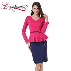 Womens Cheap Dress Elegant Vintage Patchwork V Neck Peplum Zipper Tunic Wear To Business Ruffles Pencil Sheath Work Dress