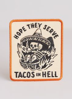 Because you love tacos more than anything and want to make a statement that there better be some in the afterlife on your favorite hat, bag, sweater, or jacket. This tan embroidered patch is wide x tall and can be either ironed-on or sewn on. Funny Patches, Cute Patches, Pin And Patches, Iron On Patches, Jacket Patches, Back Patches For Jackets, Motorcycle Patches, Biker Patches, Battle Jacket