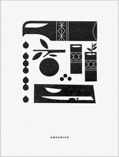 Aquarius letterpress print by Katie Kirk Graphic Design Posters, Graphic Design Inspiration, Graphic Art, Simple Illustration, Portrait Illustration, Ex Libris, Engraving Printing, Simple Poster, Walker Art