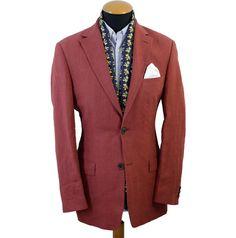 Men's Hugo Boss Blazer size 38R Red Pure Linen Sport Jacket Black Label 2 Button #HugoBOSS #TwoButton