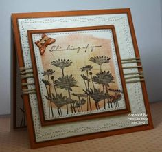 Stamps: Upsy Daisy, Bird on a Branch, sanded backgrounder   Paper: acrylic water colour, textured rust, Kraft, chocolate chipe, white, dcwv   Ink: chocolate chip, really rust, apricot appeal, versamark   Accessories: cuttlebug, polka dot embossing folder, nestability, sponge, butterfly punch, crop-o-dile, clear embossing powder, heat gun, sewing machine, pop dots, string