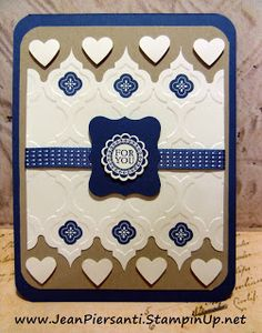 handmade card from Beauty and the Stamper ... Mosaic Madness suite ... navy, kraft and vanilla ... luv the way the edges are puched and fitted into the embossing ... sweet hearts just fit the open spaces ,... lovely!! ... Stampin' Up!