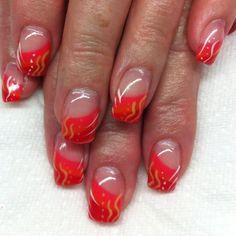 Gel nails with hand drawn gel designs By Melissa Fox Gel Shellac Nails, Nail Polish, Fingernail Designs, Gel Nail Designs, Mani Pedi, Love Nails, Beauty Nails, Nail Tips, Nail Ideas