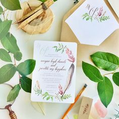 spring wreath feather bohemian  wedding invitations   Smitten on Paper
