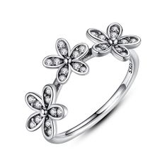 Authentic 100% 925 Sterling Silver Dazzling Daisy Ring with Clear CZ Flower // Price: $16.90 & FREE Shipping Worldwide //     #fashion #style #stylish #love #nails #hair #beauty #beautiful