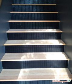Get rid of the carpet and update your stairs with hardwood and beadboard! DIY stair makeover tutorial!