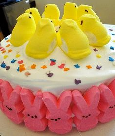 "Peepcake ... way too many peeps for me. but I think I could create something similarly cute and less ""peepy""."