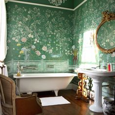 Elegant Chinoiserie Wallpaper To Beautify Your Rooms: Perfect Green Chinoiserie Wallpaper In The Bathroom With White Bathtub And White Washbasin Combined With Brown Armchair And Antique Mirror Completed With White Curtain And White Mat On Wooden Floor ~ crgrafix.com Contemporary Home Design Inspiration