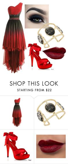 """""""Ready Red"""" by haylee-rose999 ❤ liked on Polyvore featuring Too Faced Cosmetics, Betsey Johnson, Pleaser, gold, black and red"""