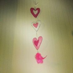 Hand made light and hot pink with white heart shaped room decoration. Made from felt and ribbon  @shaunna marrit