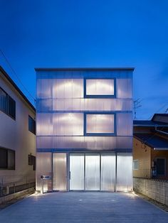 This house in Japan was designed by Suppose Design Office as a three-story steel structure wrapped in polycarbonate plastic. Anyone up for designing a Lucite Lux® house? in the house Media Architecture Design, Japanese Architecture, Contemporary Architecture, Design Garage, House Design, Design Design, Building Facade, Building A House, Ultra Modern Homes