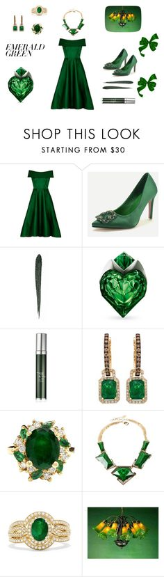 """green as grass, emerald green grass"" by cassandra-mitchell-beauchamp on Polyvore featuring WithChic, Bobbi Brown Cosmetics, Thierry Mugler, RéVive, Amrita Singh, Effy Jewelry, Meyda and emeraldgreen"