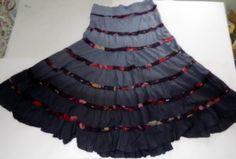Gadzooks Womens Sz M Tiered Long Skirt Purple Sequins Spring Summer 100%
