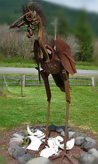 'Emerging Life' by Dan Klennert; his 'Recycled Spirits of Iron' are at Ex-Nihilo Sculpture Park near Mt. Metal Yard Art, Metal Tree Wall Art, Scrap Metal Art, Metal Artwork, Sculpture Metal, Outdoor Sculpture, Outdoor Art, Abstract Sculpture, Metal Art Projects