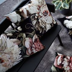Dark Floral II Black Saturated on Velvet Cushions - by Ellie Cashman Design Cushions To Make, Boho Cushions, Luxury Cushions, Floral Cushions, Handmade Cushions, Velvet Cushions, Scatter Cushions, Cushions On Sofa, Velvet Stool