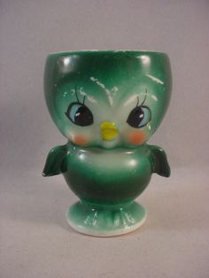 Vintage Hand Painted Ceramic Figural Baby Bluebird Egg Cup Napco Japan