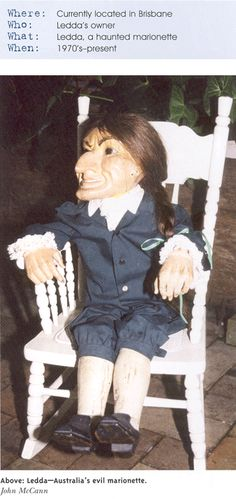 The haunted marionette Ledda, possessed by some evil or dark spirit (Brisbane, Australia). It's not only the puppet's occasional vociferous outbursts that worries its owner, it's also its behaviour and the negative effect it has on both people and animals.