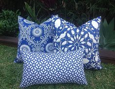 Outdoor Cushions Outdoor Pillows Cover Only. Coastal Hamptonu0027s Style Blue  And Cream, Blue And White Cushions, Blue Outdoor Cushions Pillows