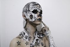 Metallic skull makeup