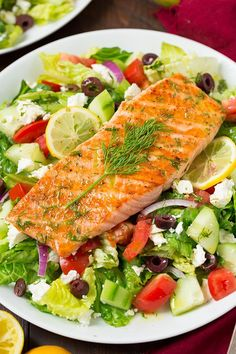 Greek Salmon Salad With Lemon Dill Vinaigrette Cooking Classy