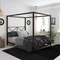 Details about Queen Metal Canopy Bed Black Bedframe Modern Bedstead Indoor Bedroom Furniture - Furniture, Bed Design, Black Bedding, Home, Bedroom Furniture, Bedroom Decor, Black Canopy Beds, Bed Frame, Canopy Bed Frame