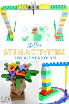 These FREE stem activities are perfect for Kindergarten and Preschool. They are nice and easy projects and challenges that build engineering and math skills in 4 and 5 year olds. They are simple to do at home using materials you already have on hand. There are STEM activities for winter, spring, summer, and fall! Stem Activities For Kindergarten, Stem Education Activities, Stem Preschool, Activities For 5 Year Olds, Educational Activities For Preschoolers, Creative Activities For Kids, Steam Activities, Spring Activities, Preschool Classroom