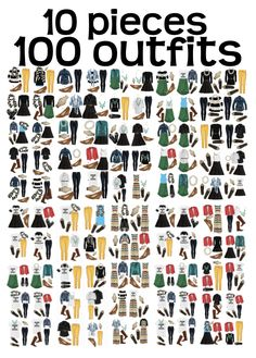 Make 100 outfits with just 10 pieces!! 10 pieces >> 100 outfits!
